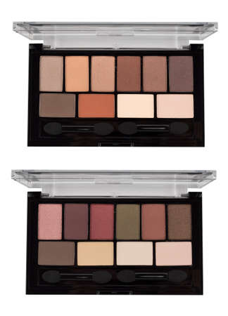 Eyeshadow palette top view, set of autumn colors, beauty product isolated on white background, clipping path included