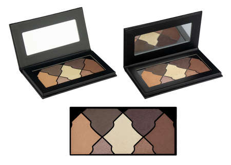 Solid eyeshadows set, in black flat box with mirror inside, beauty product isolated on white background, clipping path included