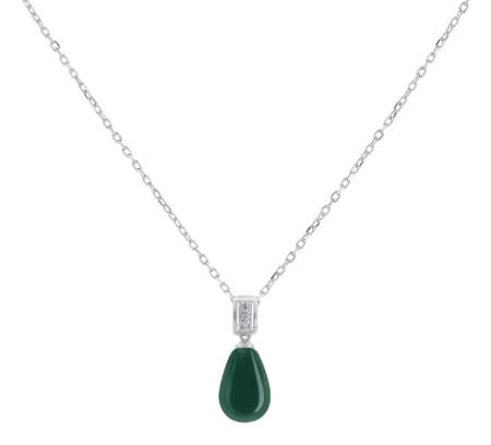 Woman silver necklace with green jade oval pendant, isolated on white background, with clipping path 版權商用圖片