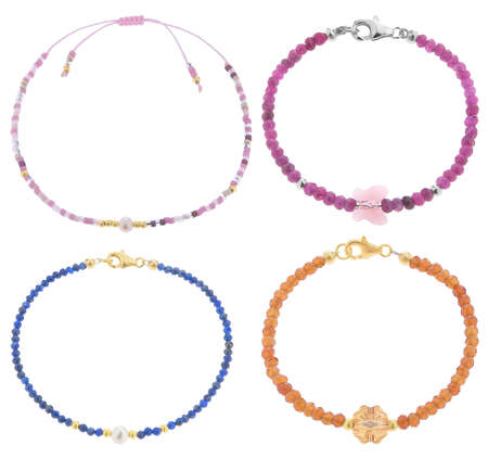 Beautiful bracelets made of colorful beads, isolated on white background, with clipping path