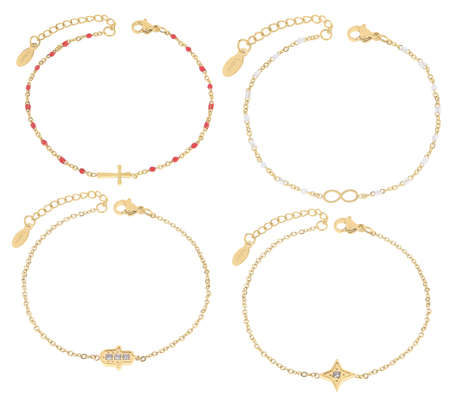 Gold bracelets with semiprecious stones and charms of various colors, isolated on white background, with clipping path 版權商用圖片