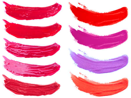 Lip gloss smeared samples, isolated on white background, clipping paths included 版權商用圖片