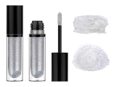 Transparent lip gloss with metallic grey glitter particles, isolated on white background 版權商用圖片