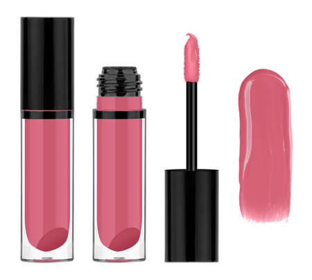 Pink lip gloss in glass container with black lid, brush and smeared sample, isolated on white background, clipping path included