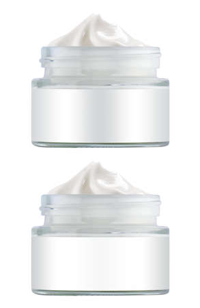 Facial cosmetic cream in transparent open jar with blank label, beauty product isolated on white background