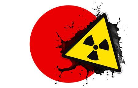 Japanese flag with symbol of radiation photo