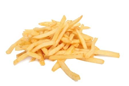 Franse frietjes geïsoleerd op wit Stockfoto