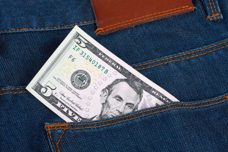 Money in the pocket  blue jeans Stock Photo - 9273918