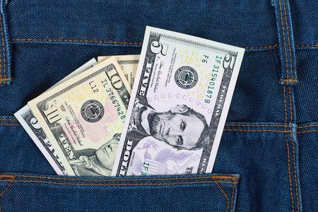 Money in the pocket  blue jeans 免版税图像