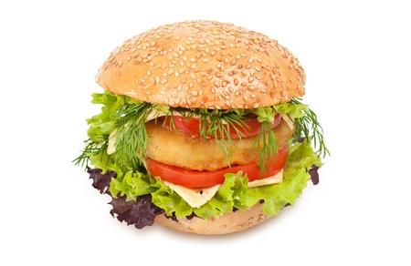 Big hamburger isolated on white photo