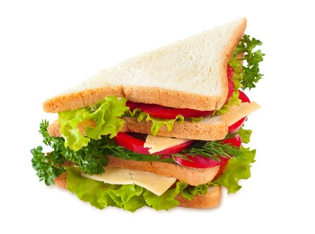 Big sandwich isolated on white photo