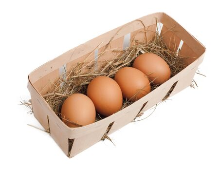 Eggs in box isolated on white Stock Photo - 12906413