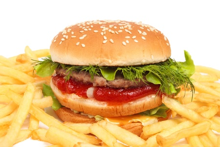 Fast food isolated on white Banque d'images