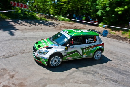Yalta, Crimea, UKRAINE - JUNE 4, 2011: Juho Hanninen drives his Skoda Fabia Super 2000 during the IRC PRIME Yalta Rally 2011. IRC championship Stock Photo - 12819486