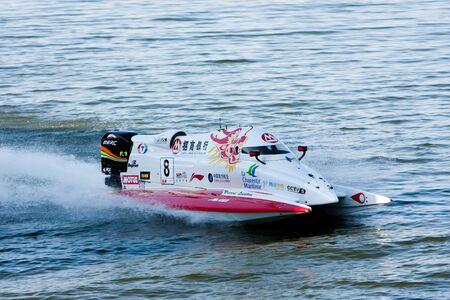 VYSHGOROD, UKRAINE - JULY 30: Pierre Lundin, China CTIC Team in the Grand Prix of Ukraine F1H2O UIM World Championship for power boating, July 30, 2011. Vyshgorod, Kyiv Region. Stock Photo - 12849410