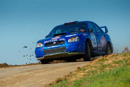 ODESSA, UKRAINE - APRIL 17: Reel Alex driving his car Subaru STI  at the 1-st stage