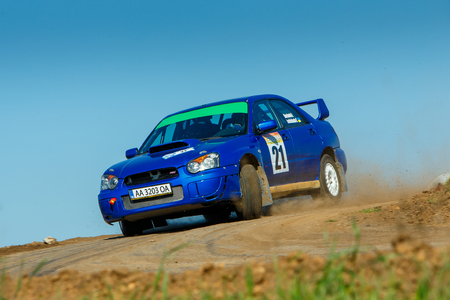 ODESSA, UKRAINE - APRIL 17: Shevchenko Andriy driving his car Subaru STI  at the 1-st stage