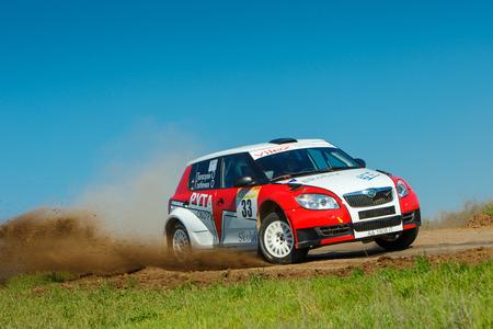 ODESSA, UKRAINE - APRIL 17: Grebenuk O driving his car Skoda Fabia at the 1-st stage