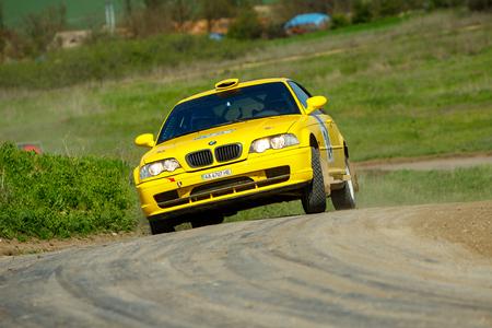 ODESSA, UKRAINE - APRIL 17: Novinskyi Orest driving his car BMW M3 at the 1-st stage