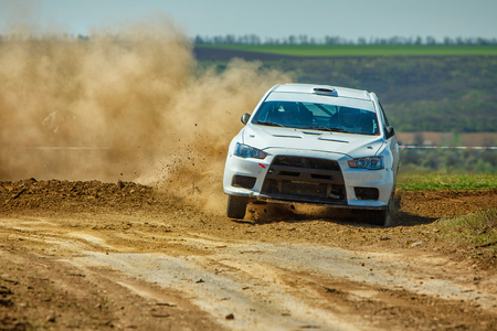 ODESSA, UKRAINE - APRIL 17: Dolot Anton driving his car Mitsubishi EVO X R2 at the 1-st stage Severinov of the championship of Ukraine Liman Cup on April 17, 2016 in Odessa, Ukraine. Editöryel