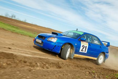 ODESSA, UKRAINE - APRIL 17: Shevchenko Andriy driving his car Subaru STI  at the 1-st stage