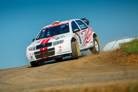 ODESSA, UKRAINE - APRIL 17: Gontovoi Pavel driving his car Skoda Fabia Sport  at the 1-st stage