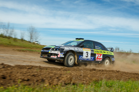ODESSA, UKRAINE - APRIL 17: Champion Topor Ruslan driving his car Mitsubishi Evo 9 at the 1-st stage