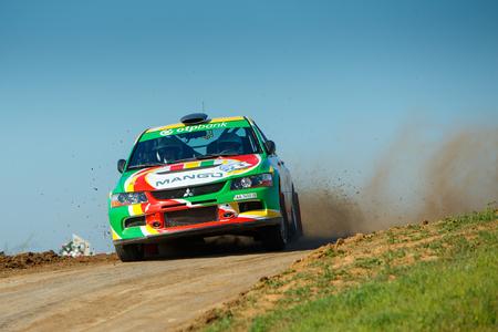 ODESSA, UKRAINE - APRIL 17: Saliyk Alex driving his car Mitsubishi EVO 9 at the 1-st stage