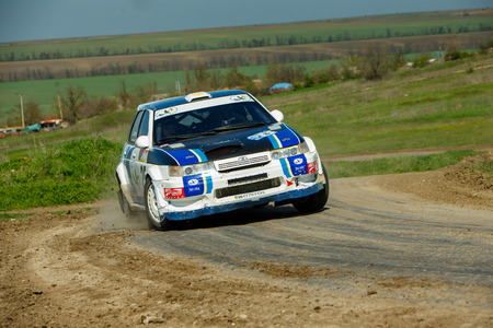 ODESSA, UKRAINE - APRIL 17: Gorshkov Mihail driving his car Vaz citcar at the 1-st stage Severinov of the championship of Ukraine Liman Cup on April 17, 2016 in Odessa, Ukraine. Editöryel