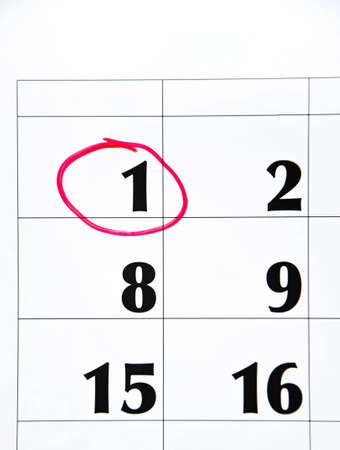 The first number in the calendar is circled in red in macro. Calendar for plans, notes, meetings. Business calendar.