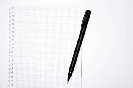 Squared notebook with black pen on a white background. Record ideas, notes, plans, tasks. Notebook top and side view. Flatlay. Copy Space