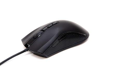 Black gaming mouse with side extra keys and a matte finish on white background. Mouse front view buttons and wheel looking forward. Keys in macro. Wireless mouse