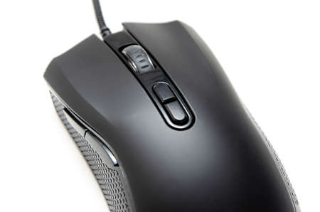 Black gaming mouse with side extra keys and a matte finish on white background. Mouse view from the back under the brush. The mouse in macro, the keys and the wheel are viewed from a person at an angle Stock fotó