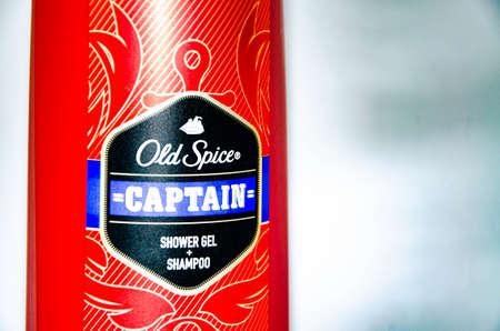 February 2020. Ukraine, Kramatorsk. Old Spice Captain Male shower gel on a white background. Shampoo Standard-Bild