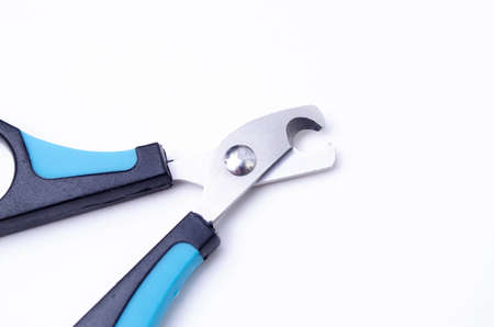 Cat claw scissors for cats with black and blue handle on a white background in macro