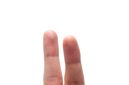 Two fingers on a white background with and without a face. Various emotions, joy, sadness, anger are depicted on the fingers