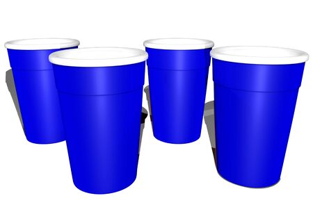 3D Illustration blue plastic glasses for alcoholic beverages Stock Photo
