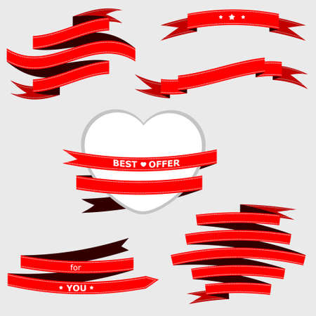 red ribbon for web design, cards, banner.  Vector