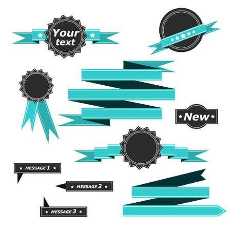 blue ribbon for web design, cards, banner.  Vector