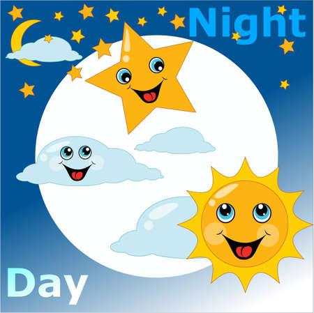 tag und nacht: Kinderkarte Tag Nacht. Vektor-Illustration