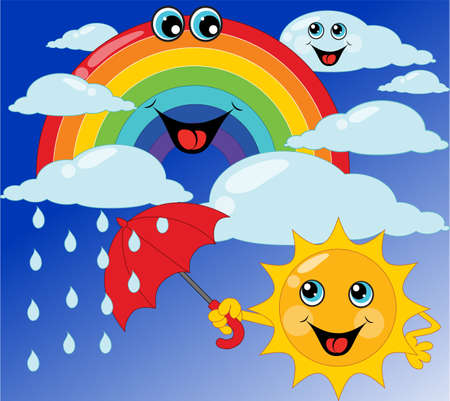 rainbow umbrella: childrens card sun, rainbow, umbrella, cloud. Vector illustration