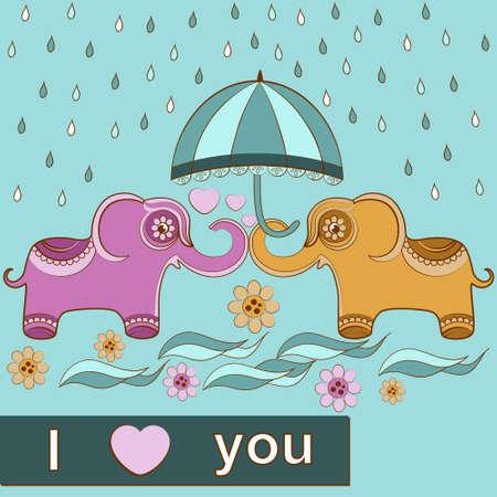 card love elephants. Vector illustration Vector