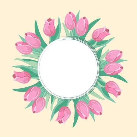 Card.flowers_tulips. Vector illustration. Vector