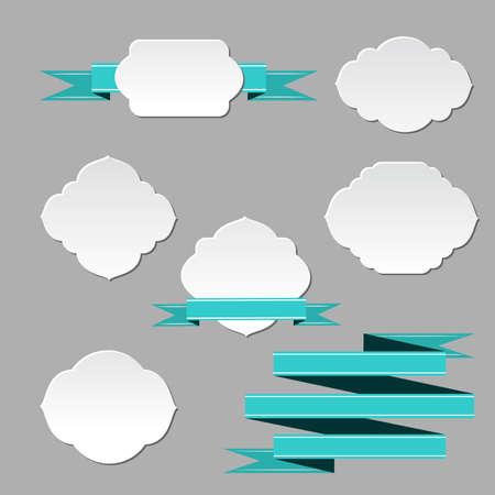 Blank frame and label set. Vector illustration. Vector