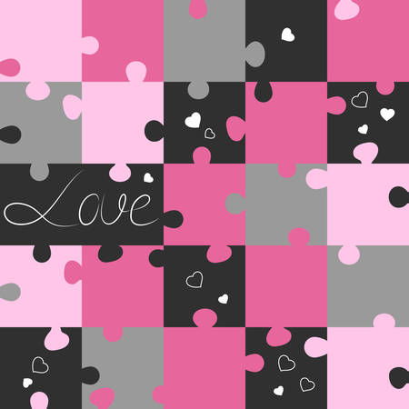 day saint valentin: Saint Valentin pattern from puzzles. Jigsaw puzzle game. Vector illustration Illustration