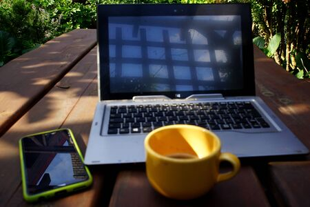 home office in the summer garden Stockfoto