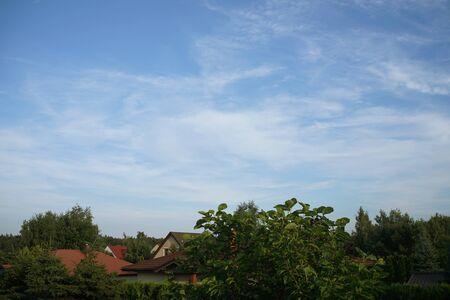 blue sky over a Polish village