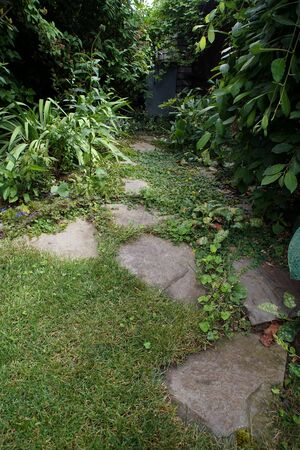 Path made of split stones laid in the garden lawn