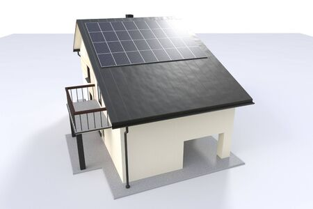3d illustration. House with solar panel isolated on white background 版權商用圖片