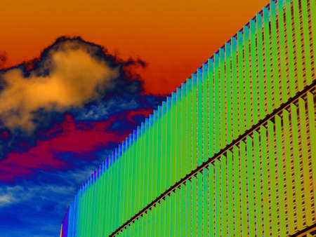A Colour Manipulated Image of a Building Side View of Metal Plinths or Grills with a Girder for Structural Construction Support Stock Photo